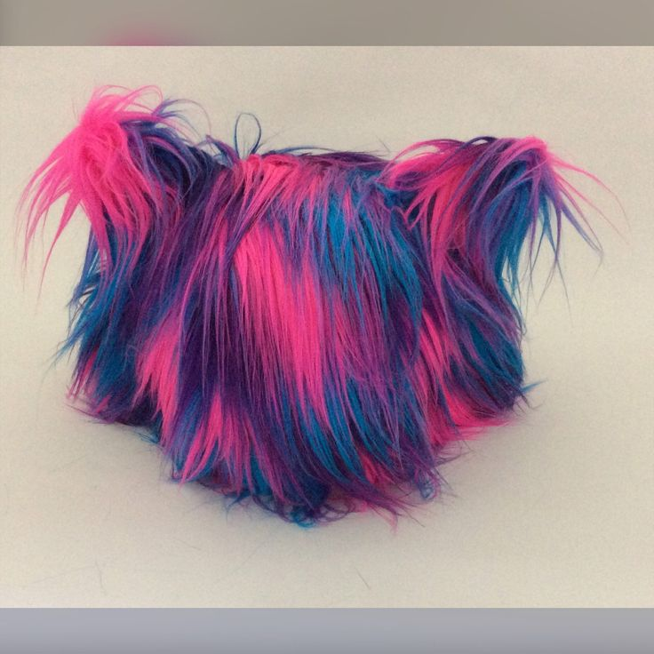 Custom order Cat Hood hood just finished! I love this colourful faux fur! Just stunning!