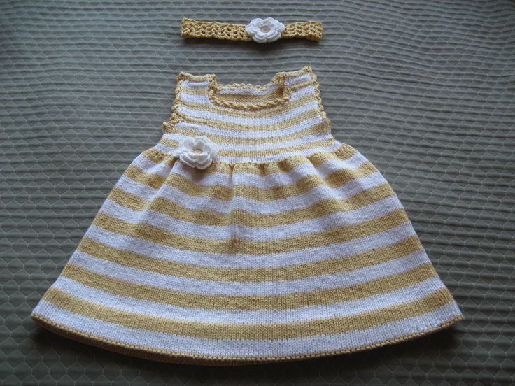 Knitted dress with picot edging and crochet headband and flowers