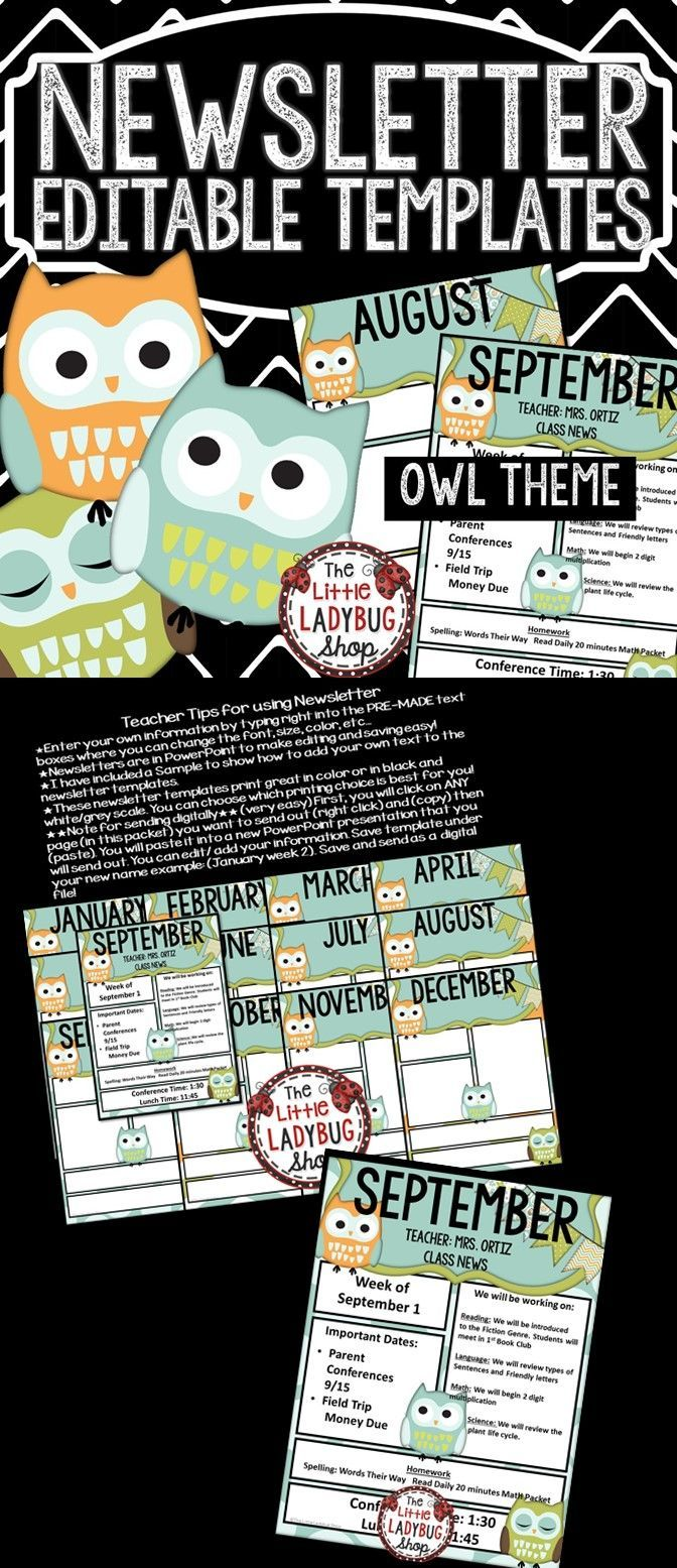 These OWL Theme Newsletter Template is EDITABLE and perfect for weekly/monthly class newsletter communication. It is a fantastic tool to use to communicate with school, parents, and families.
