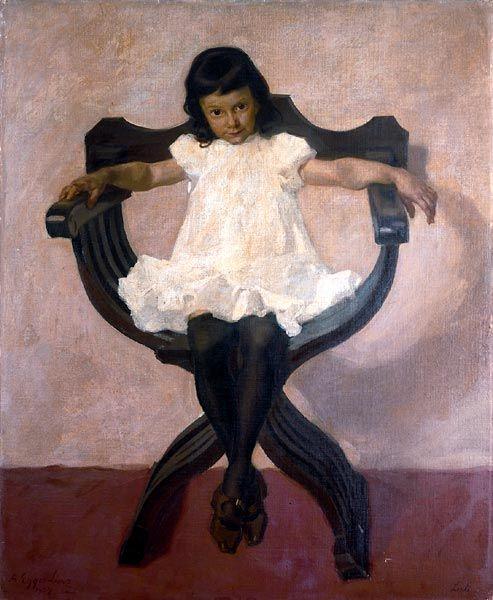 Albin Egger-Lienz – Portrait der Tochter Lorli, 1907, Öl auf Leinwand, 102x91 cm; Privatbesitz