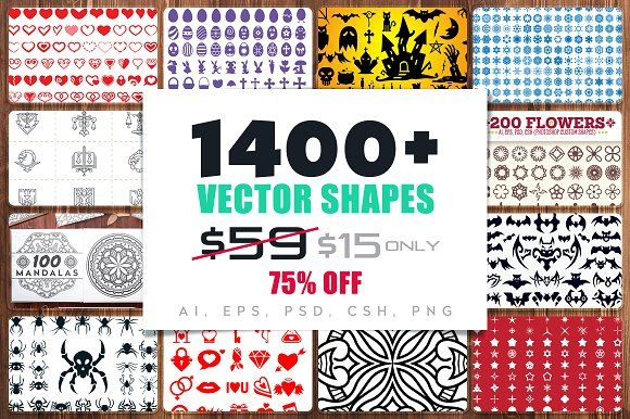 1400+ Vector Shapes Bundle [75%OFF] by pixaroma on @creativemarket