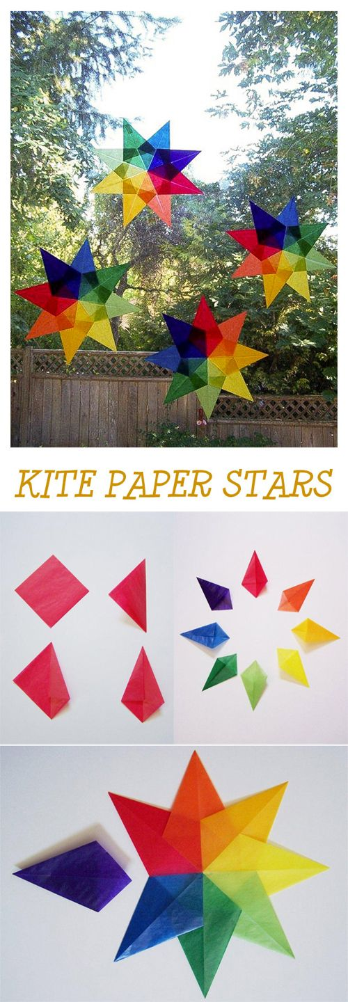 {Crafts for Kids: Kite Paper Stars} Brighten up your window any time of year *Love this
