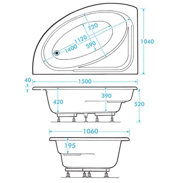 Orlando Corner Bath With Panel (Right Hand Option 1500 X 1040mm)