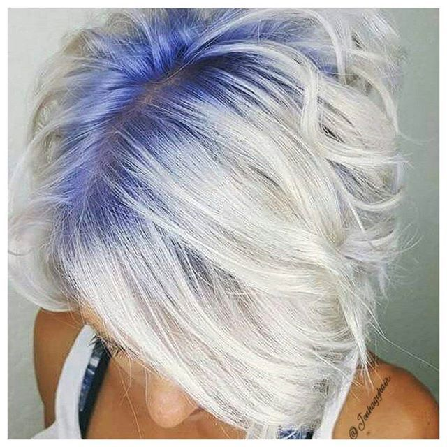 Our #hairoftheday goes to @jenhagyhair  for these icy locks and blue roots created with  @joicointensity  and @olaplex  #cosmoprofbeauty #licensedtocreate #hotd #shadowroot #bluehair #blueroots #repost
