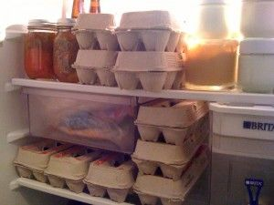 Preserving Eggs~    You can keep eggs un-refridgerated if you coat them with warmed mineral oil and flip them over once a month. For long term storage up to 9 months, store @ 68 degrees in a dry place. If you still want to check if the egg is fresh enough to eat, put it in cold water. Anything other than a floating egg is safe to eat.      preparednesspro.com