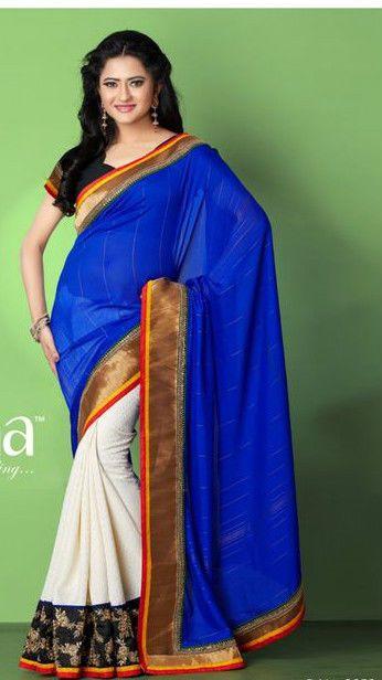 Navy Blue Jacquard Stylish Embroidery Saree/Partywear/Designerwear #TS3052