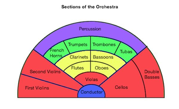 Diagram Showing Orchestra Location For Instruments