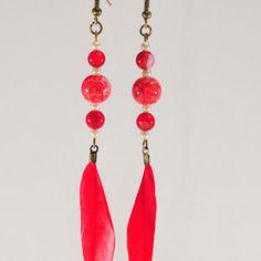 Boucles d'oreilles perles et plume rouge