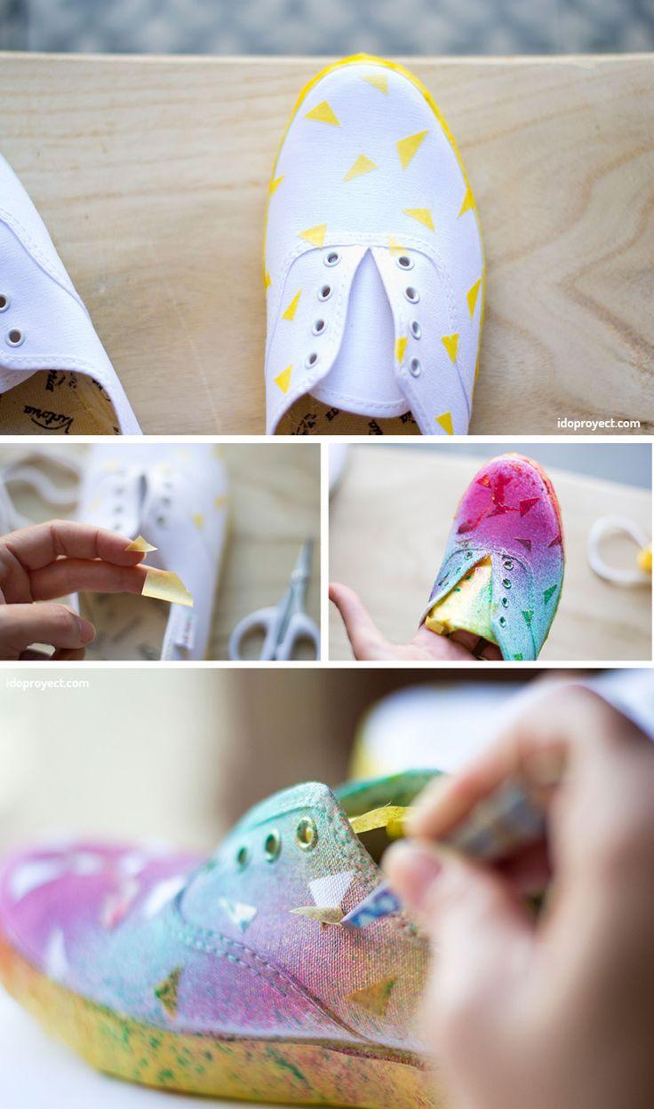 Aprende con este tutorial a pintar zapatillas Victoria con pintura para tela en spray