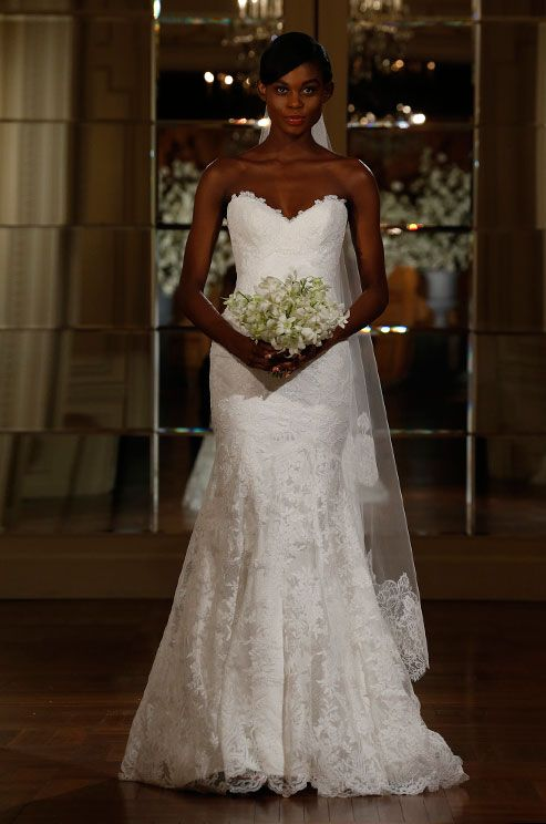 Beautiful strapless lace wedding dress by Romona Keveza Legends, Spring 2015