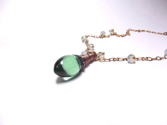 Ice pendant necklace from light green glass crystal by Taptamba
