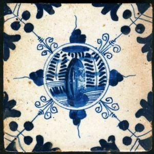 Antique Delft tile with Chinese garden, 17th century
