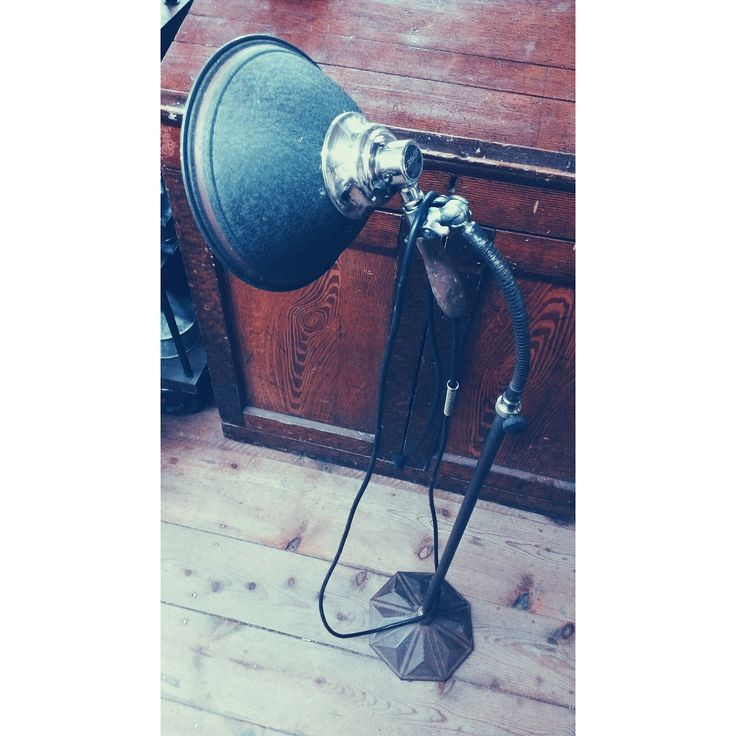 Old Standing Work Lamp - Adj. Gooseneck + Removable Trouble Light ~ #worklamp #lighting #vintage #industrial #decor *JoJo's Place www.jojosplace.com
