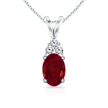 Angara Trillion Ruby Halo Pendant with Curved Bale - July Birthstone Pendant Bu0viph