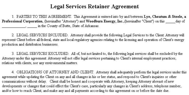 Example Document for Legal Services Retainer Agreement