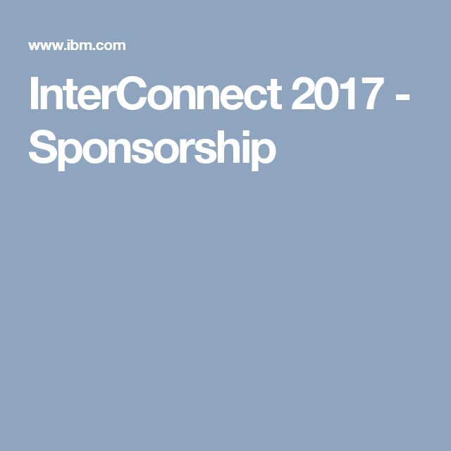 InterConnect 2017 - Sponsorship