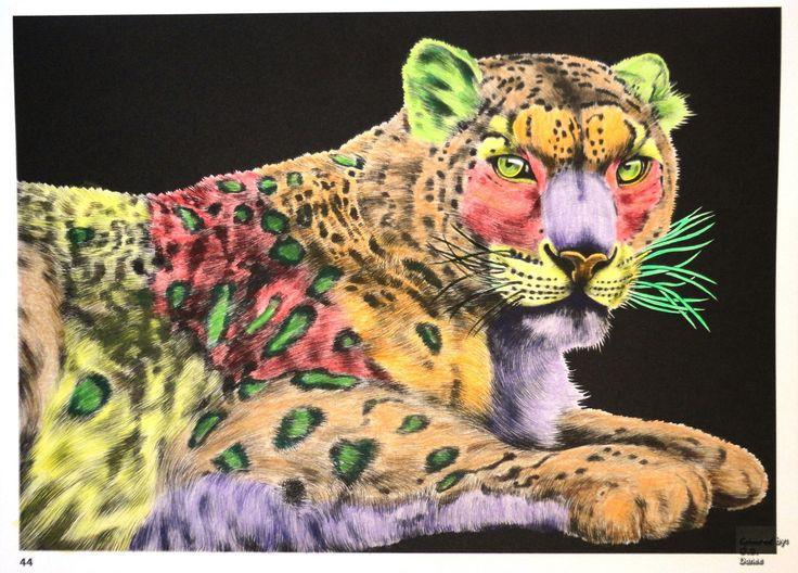 Tim Jeffs -  Intricate Ink Animals in Details volume 1   Snow Leopard  Coloured with Derwent Coloursoft
