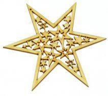 Drevený výrez hviezda prerezaná, 12,5 cm