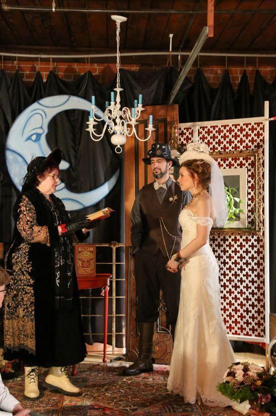 Steam Punk Wedding Couple Weddingtheme Weddingshoesblog