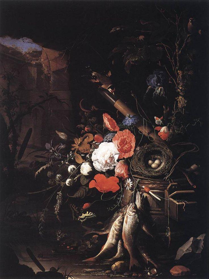 MIGNON, Abraham Натюрморт с рыбой и с птичьим гнездом. Still-Life with Fishes and Bird Nest 1670