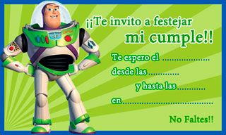 Invitaciones para imprimir de Buzz Lightyear - Toy Story