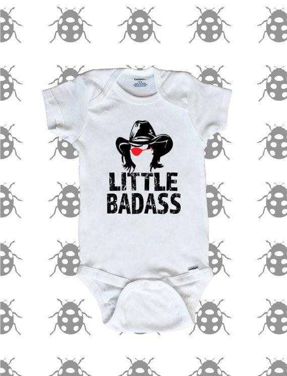 fe39ecdd9 Little Badass Carl Grimes stencil with eye patch baby onesie. The Walking  Dead.