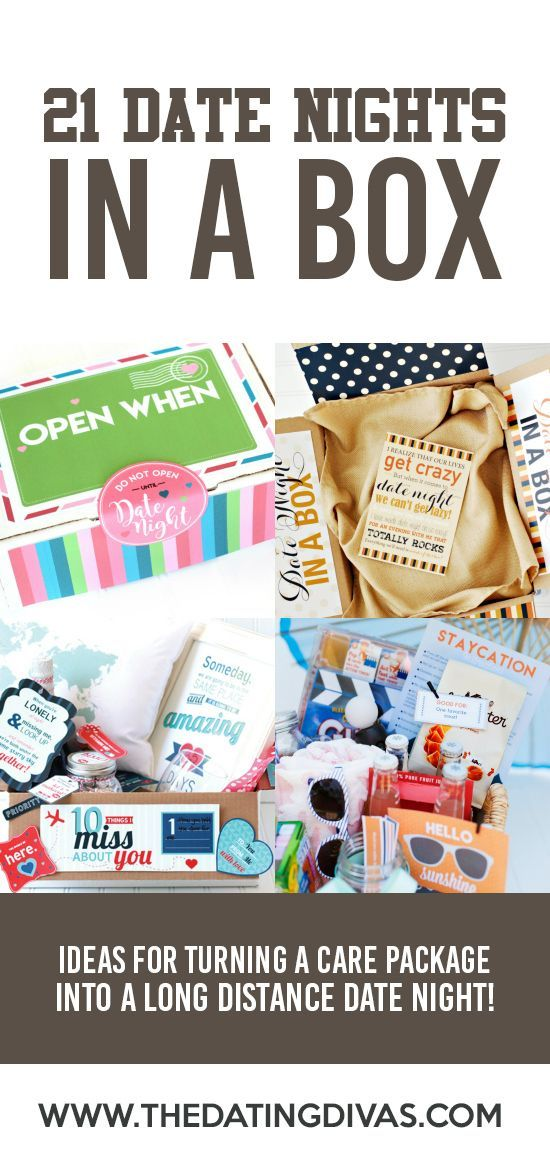"""Date Night Ideas in a Box- lots of """"Date In a Box"""" Ideas- these are perfect for a gift or for long distance relationships"""