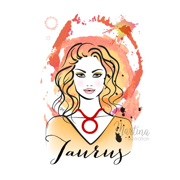 taurus zodiac horoscope sign fashion illustration