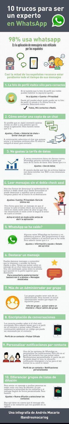 10 trucos para ser un experto en WhatsApp. Infografía en español. #CommunityManager
