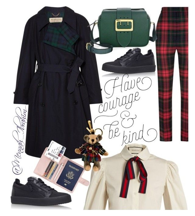 """""""#Burberry #Winter #chic #Travelling"""" by mennah-ibrahim on Polyvore featuring Burberry, Gucci and Giuseppe Zanotti"""