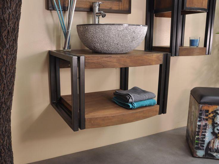 Meuble suspendu métal et le teck, plateau au design arrondi.  Parfait pour :  une vasque à poser.  Dimensions : L60 cm P48- 45 cm H37 cm.