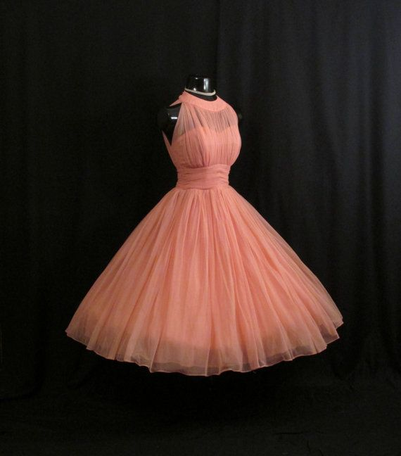 Vintage 1950's 50s Bombshell Halter Coral PINK Salmon Ruched Chiffon Circle Skirt Party Prom Wedding Dress