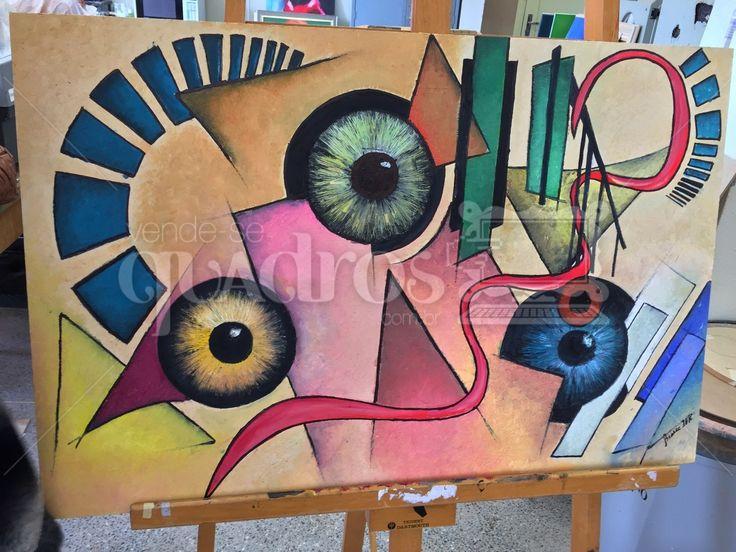 Nistagmo é uma obra de arte abstrata, pintada em mdf cru e com tinta a óleo.