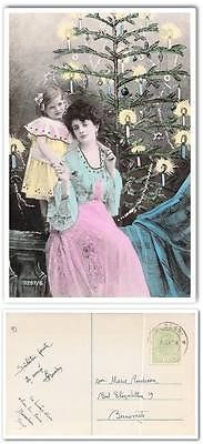 cp900 Old postcard Romania 1908 Mother and daughter Christmas tree tinted photo