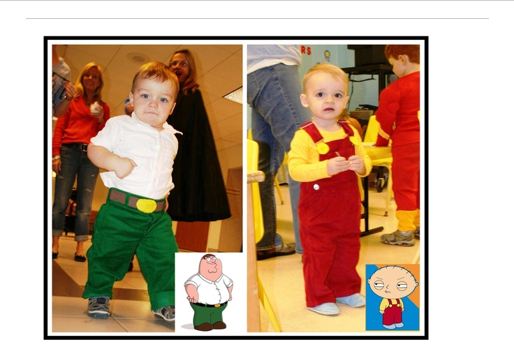 These are my twins from Halloween 2010 as Peter & Stewie Griffin from Family Guy - it was fun because only FG fans even realized they were in a costume at all :)