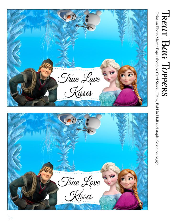 Treat Bag Toppers For True Love Kisses Frozen Party