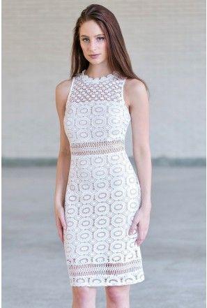Ivory Crochet Lace Sheath Dress, Cute Rehearsal Dinner Dress