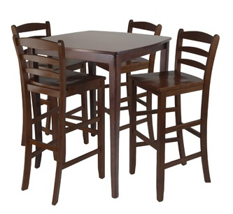 tall table and chairs in a dark wood for the dining room 4 chairs no more for now decor. Black Bedroom Furniture Sets. Home Design Ideas