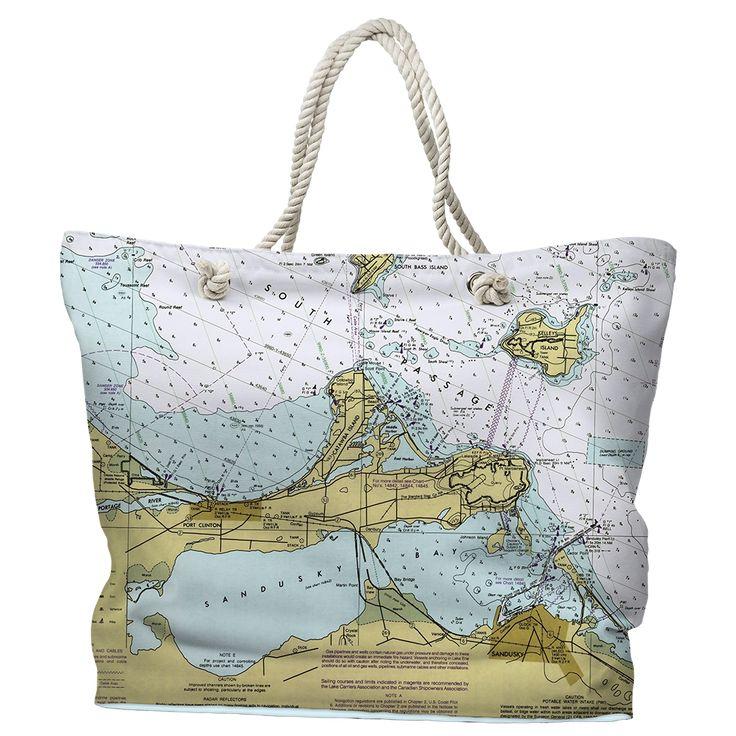 OH: Port Clinton, Catawba Island, Sandusky, OH Nautical Chart Tote Bag