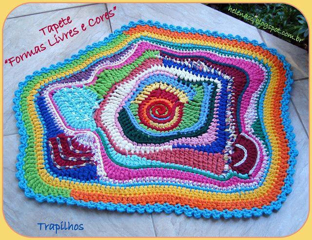 """EU TAMBÉM CROCHETO...: Crochet Livre: Tapete """"Formas Livres e Cores"""" em Trapilho"""