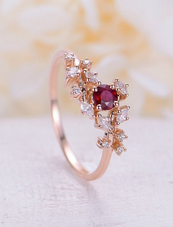 Rose gold engagement ring Diamond Cluster ring Unique Ruby engagement ring Delicate leaf wedding women Bridal set Promise Anniversary Gift