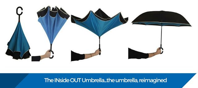 GIFT OF THE WEEK: INside OUT Umbrella $44.95 Sick of your umbrella blowing inside out or dripping all over you?  This umbrella leaves all other umbrellas for dead! #GiftsforMen #MensGifts #umbrella