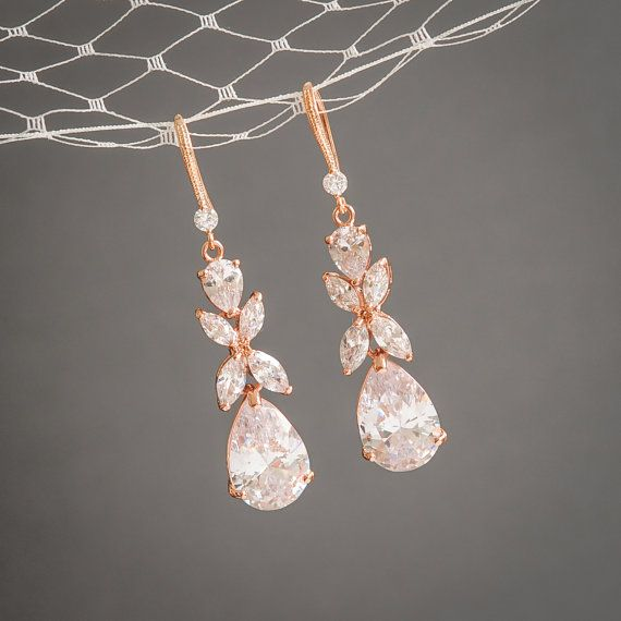 Rose Gold Wedding Earrings, Crystal Bridal Earrings, Clover Leaf Dangle Drop Earrings, Statement Bridal Jewelry, Teardrop Earrings, HARRIET