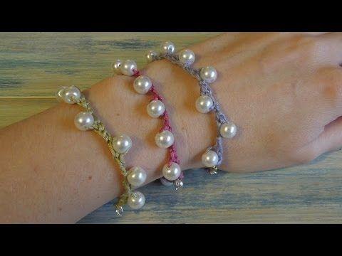 (crochet) How To - Crochet my Solomon Pearl Bracelet - YouTube