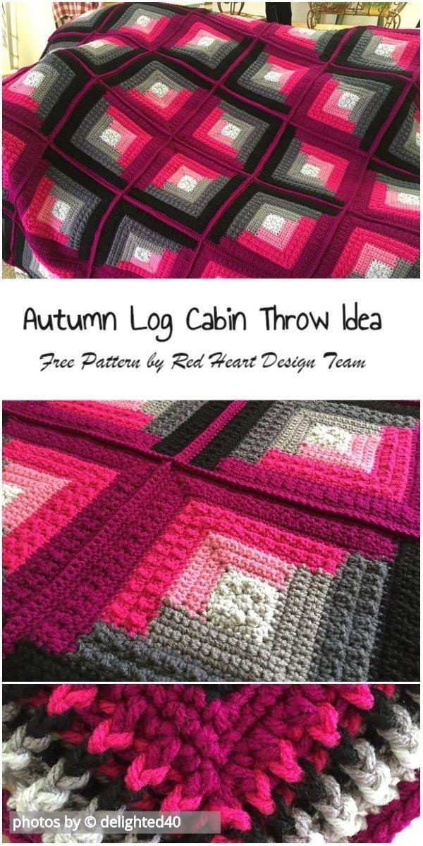 Autumn Log Cabin Throw Idea #crochetpatternsfree #autumnlogcabinthrowidea #crochetafghan