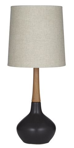 Timber and Ceramic Small Table Lamp Black