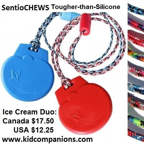 Aggressive chewer? GET:Tougher-than-Silicone SentioCHEWS -L☺☺K at many color choices!  http://kidcompanions.com/product/sentiochews-ice-cream-duo  #pediOT #SpEd #AutismParents