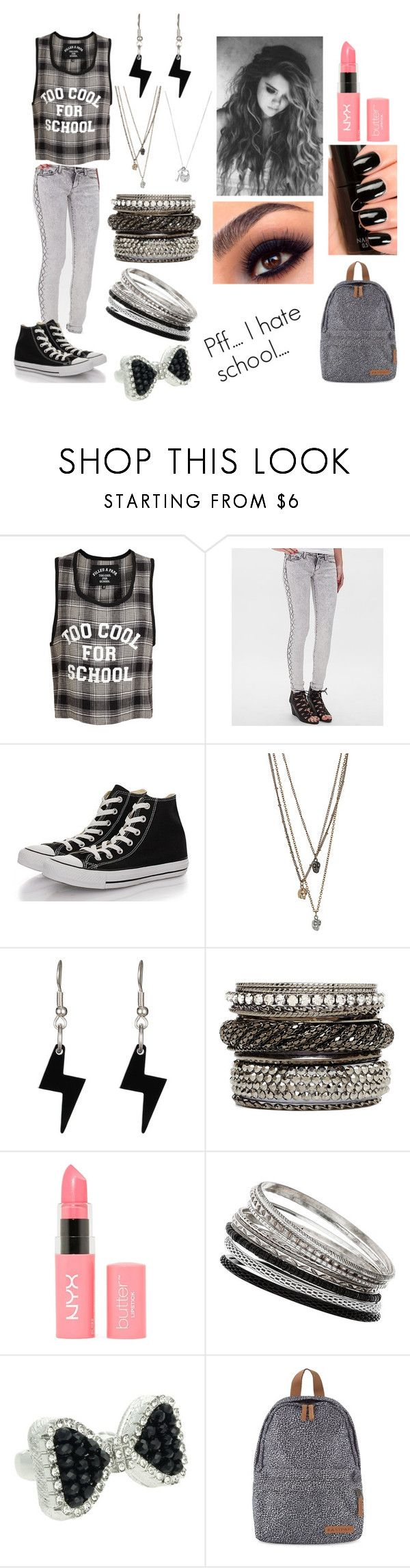 Go to school.... #2 by emma-directioner-r5er on Polyvore featuring mode, Filles à papa, SP Black, Converse, Eastpak, 2b bebe, Wallis, Lipsy, Tatty Devine and NYX