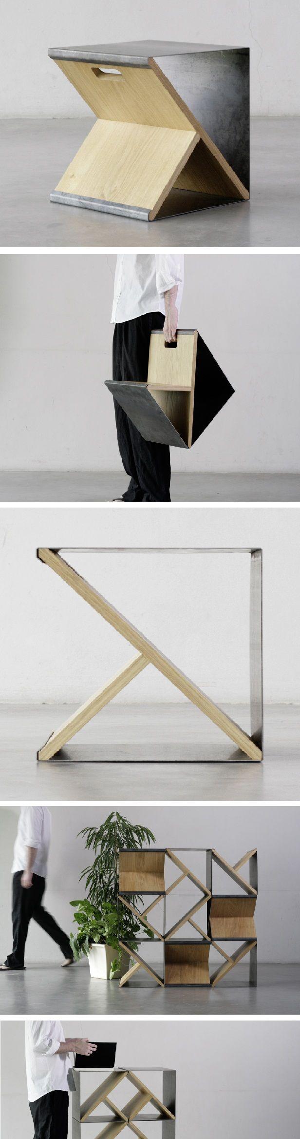 Criada pelos designers Gautier Pelegrin e Vincent Taïani, do Noon Studio, Steel Stool é uma banqueta minimalista de aço e madeira, feita à mão em edição limitada. Medindo 35x35x35cm) pode ser usada como banqueta, revisteiro, mesa lateral ou estante. Em uma das faces de madeira há uma abertura para facilitar o transporte. A criação é genial: uma chapa de metal dobrada seis vezes para encaixar-se perfeitamente às extremidades de duas tábuas de madeira estruturadas em T.