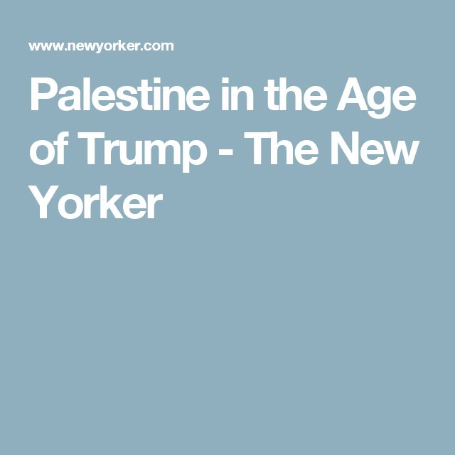 Palestine in the Age of Trump - The New Yorker